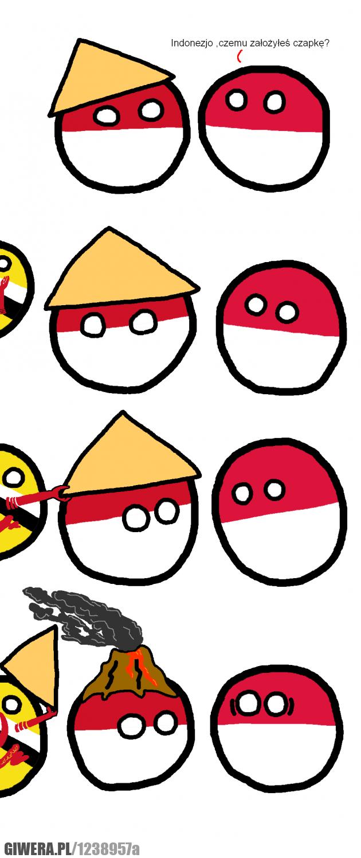 Polandball,Polska,Indonezja,wulkan,czapka.