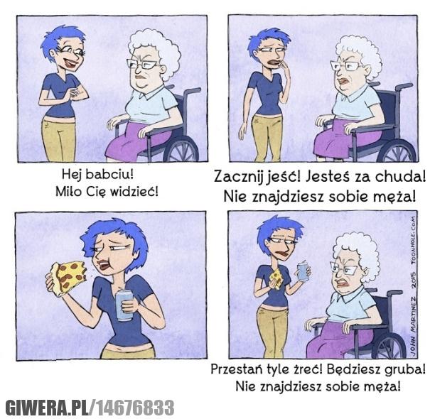 Babcia,jedzenie,facet
