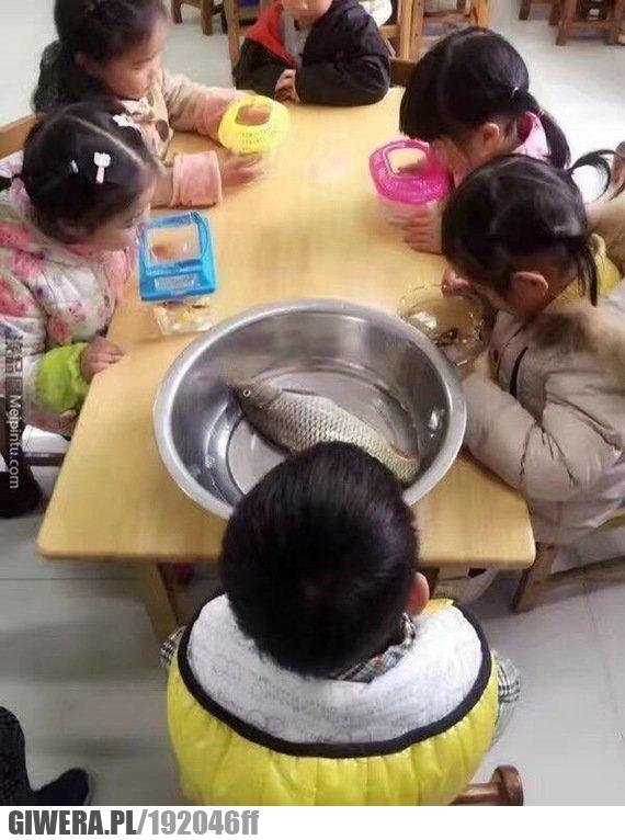 Uczniowie mieli do szkoły przynieść swoje rybki